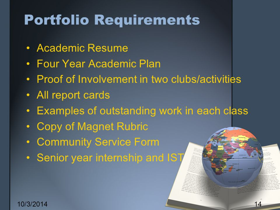 Portfolio Requirements Academic Resume Four Year Academic Plan Proof of Involvement in two clubs/activities All report cards Examples of outstanding work in each class Copy of Magnet Rubric Community Service Form Senior year internship and IST 10/3/201414
