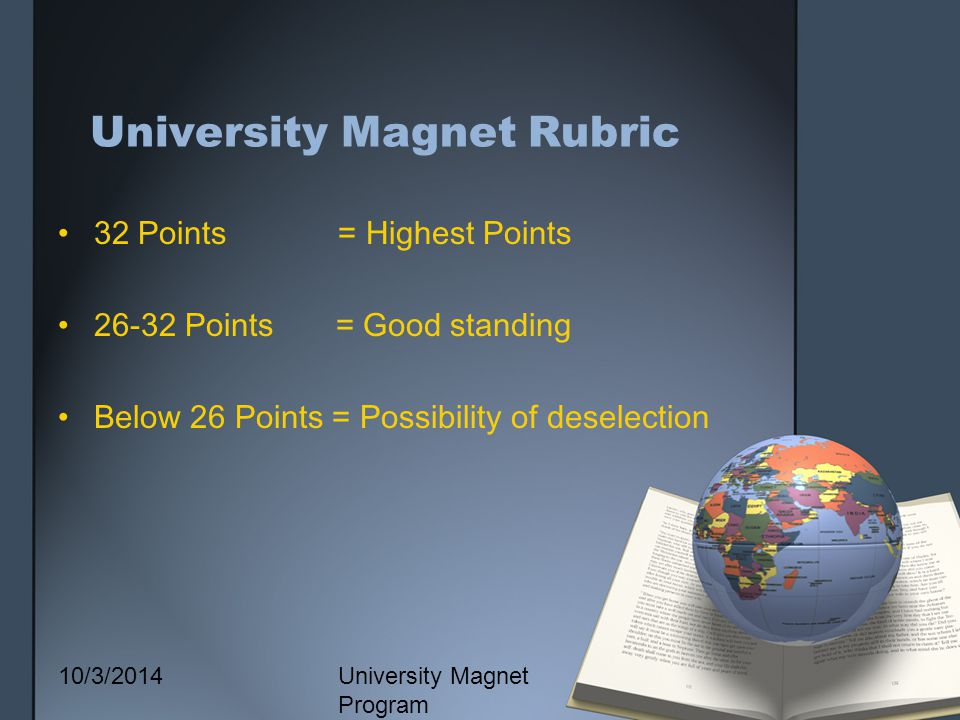 10/3/2014 University Magnet Program University Magnet Rubric 32 Points = Highest Points 26-32 Points = Good standing Below 26 Points = Possibility of deselection