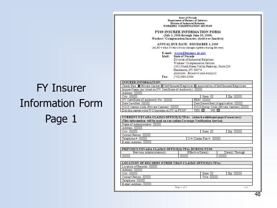 48 FY Insurer Information Form Page 1