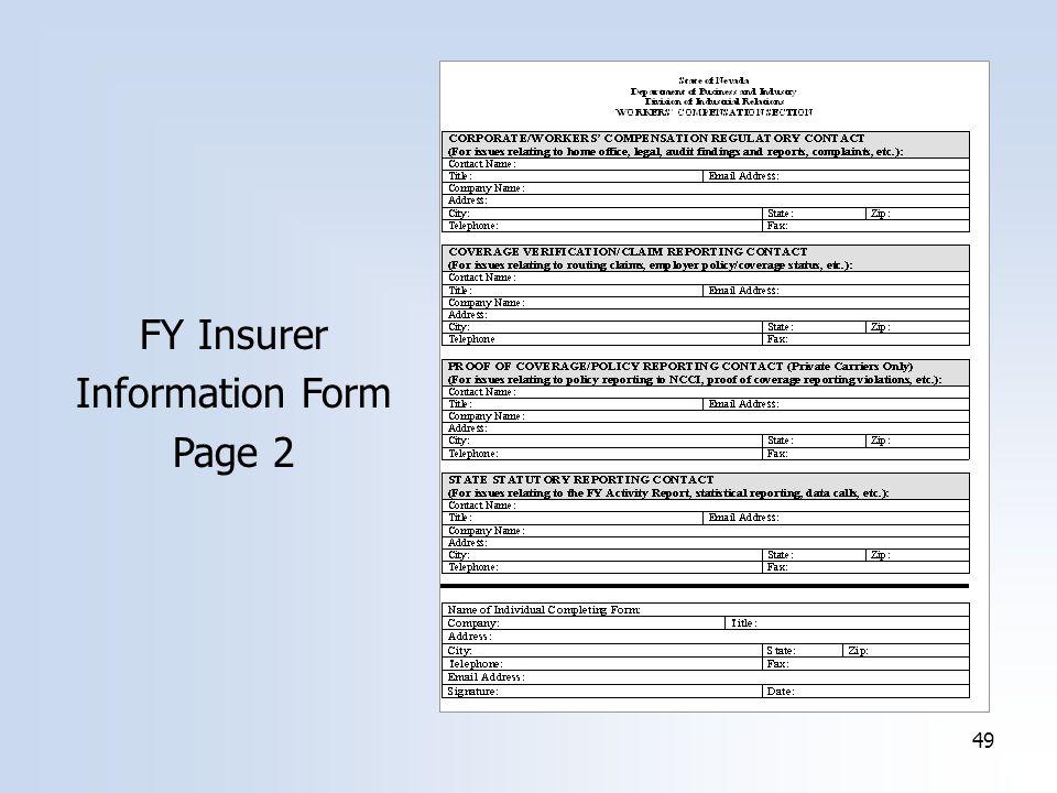 49 FY Insurer Information Form Page 2