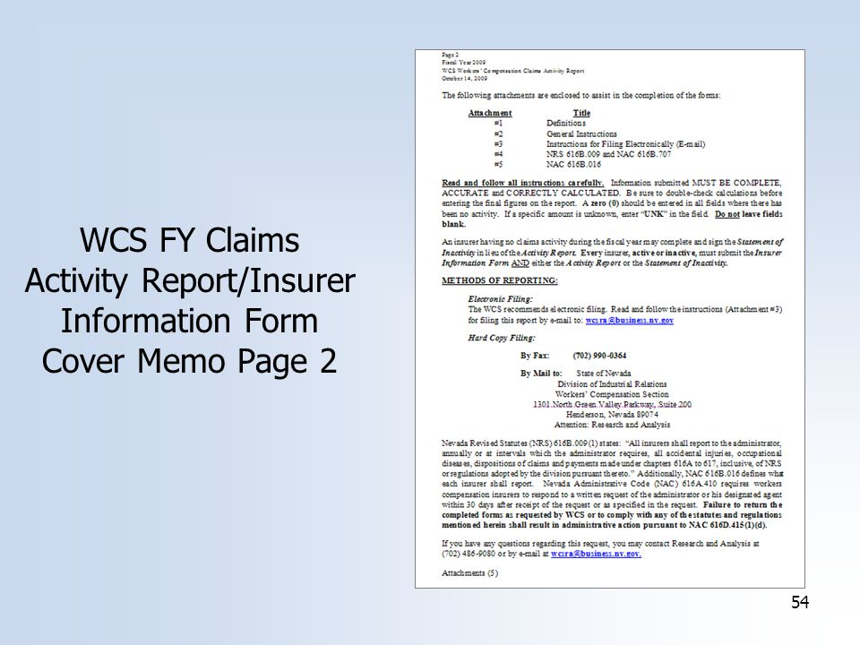 54 WCS FY Claims Activity Report/Insurer Information Form Cover Memo Page 2
