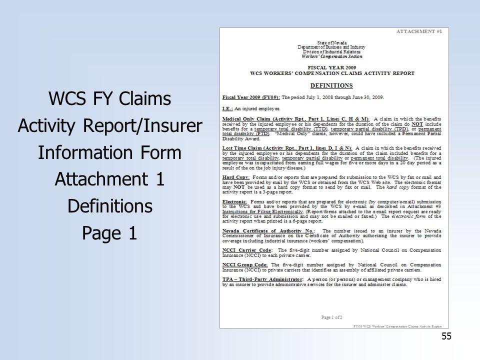 55 WCS FY Claims Activity Report/Insurer Information Form Attachment 1 Definitions Page 1
