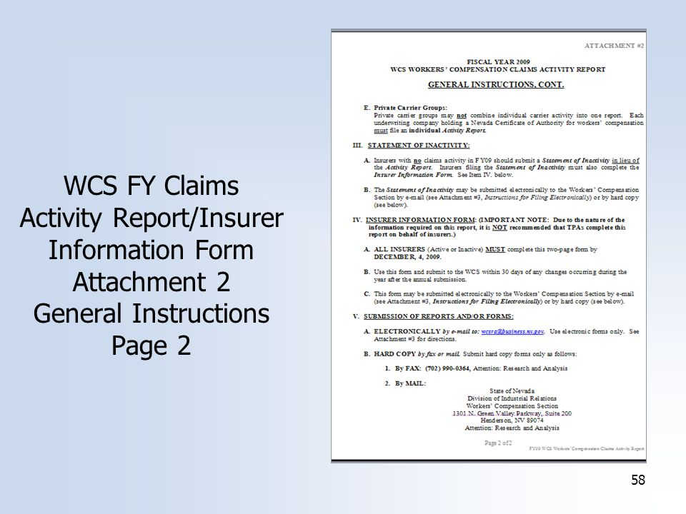 58 WCS FY Claims Activity Report/Insurer Information Form Attachment 2 General Instructions Page 2