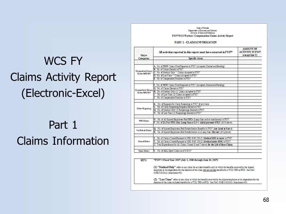 68 WCS FY Claims Activity Report (Electronic-Excel) Part 1 Claims Information