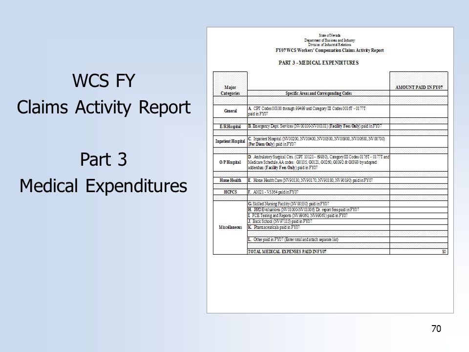 70 WCS FY Claims Activity Report Part 3 Medical Expenditures
