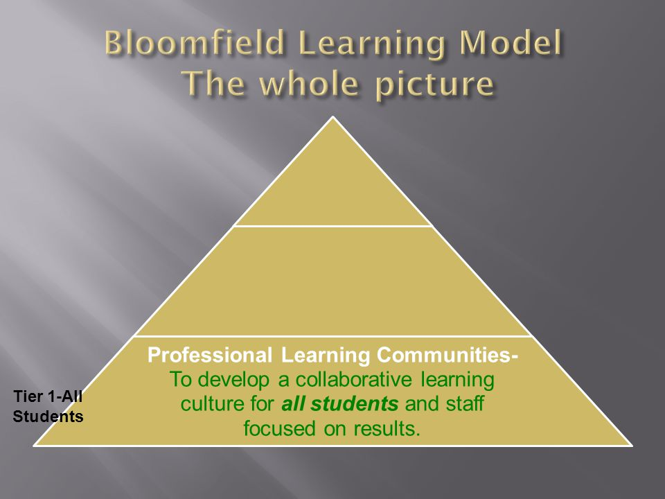 Professional Learning Communities- To develop a collaborative learning culture for all students and staff focused on results.