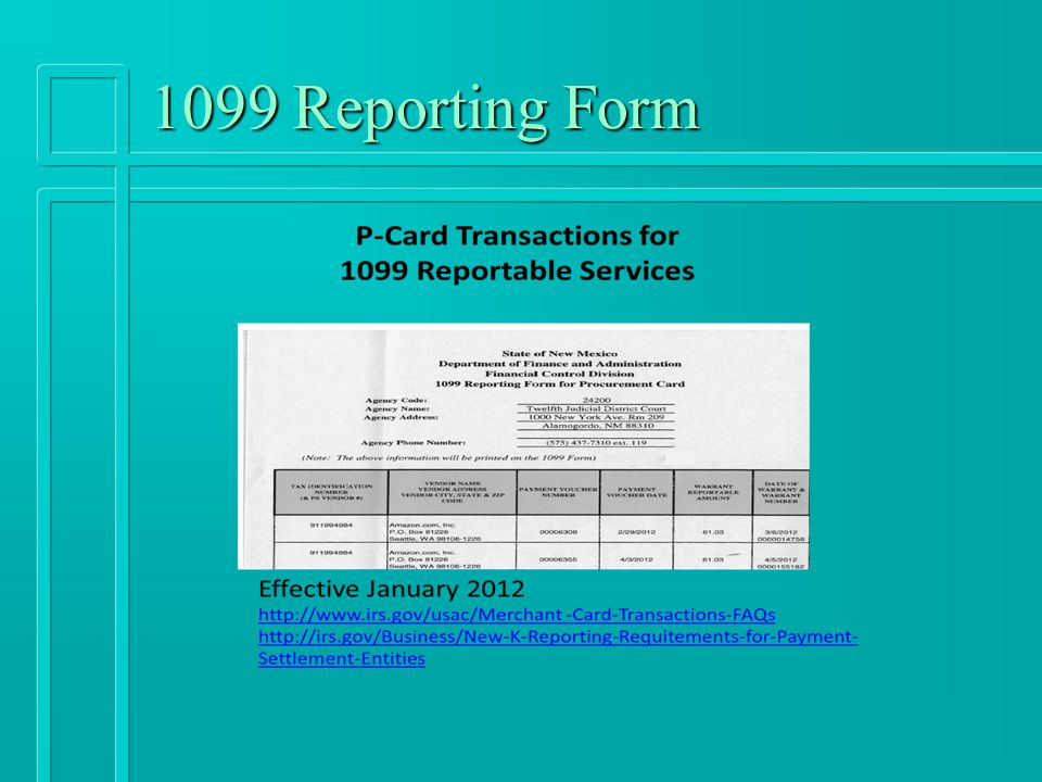 1099 Reporting Form