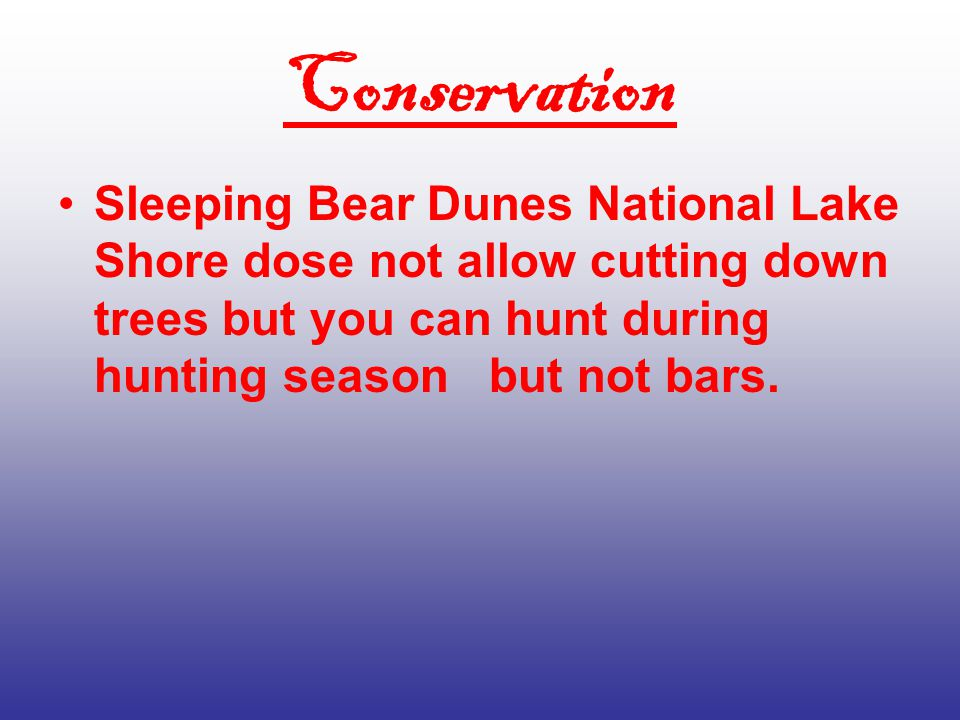 Land Features Sleeping bear dunes is all sand and trees and hill's.