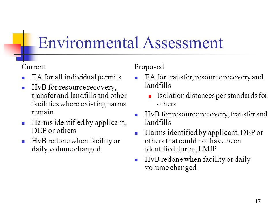 17 Environmental Assessment Current EA for all individual permits HvB for resource recovery, transfer and landfills and other facilities where existing harms remain Harms identified by applicant, DEP or others HvB redone when facility or daily volume changed Proposed EA for transfer, resource recovery and landfills Isolation distances per standards for others HvB for resource recovery, transfer and landfills Harms identified by applicant, DEP or others that could not have been identified during LMIP HvB redone when facility or daily volume changed