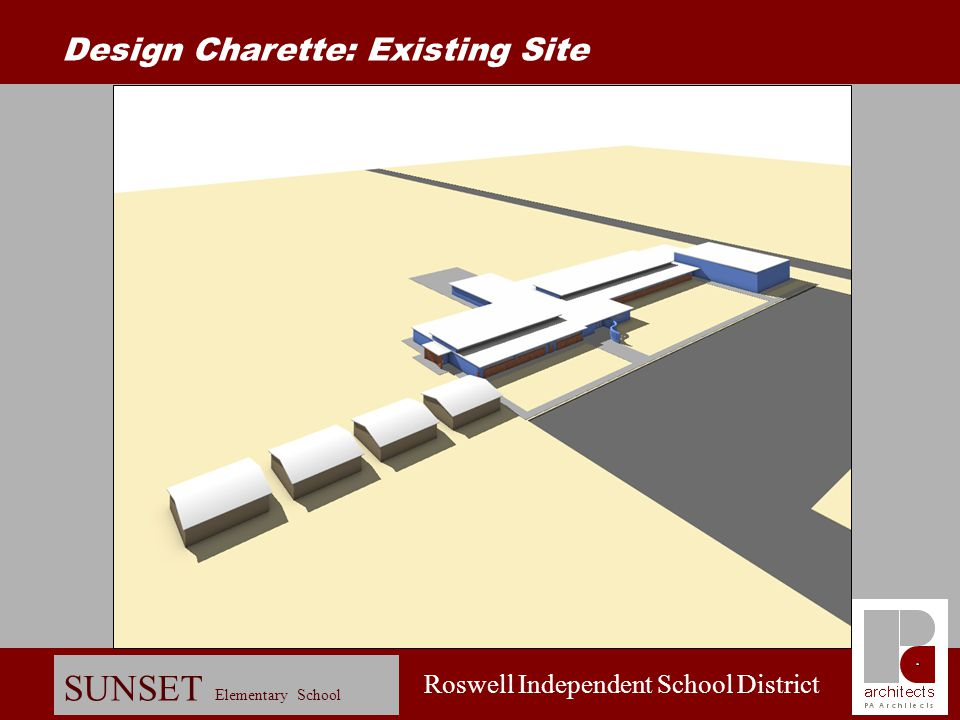 Roswell Independent School District SUNSET Elementary School Renovate administration space Renovate kitchen serving line Renovate east wing (Level 2)