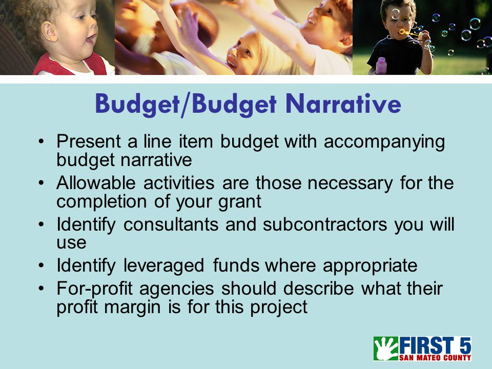 Budget/Budget Narrative Present a line item budget with accompanying budget narrative Allowable activities are those necessary for the completion of your grant Identify consultants and subcontractors you will use Identify leveraged funds where appropriate For-profit agencies should describe what their profit margin is for this project