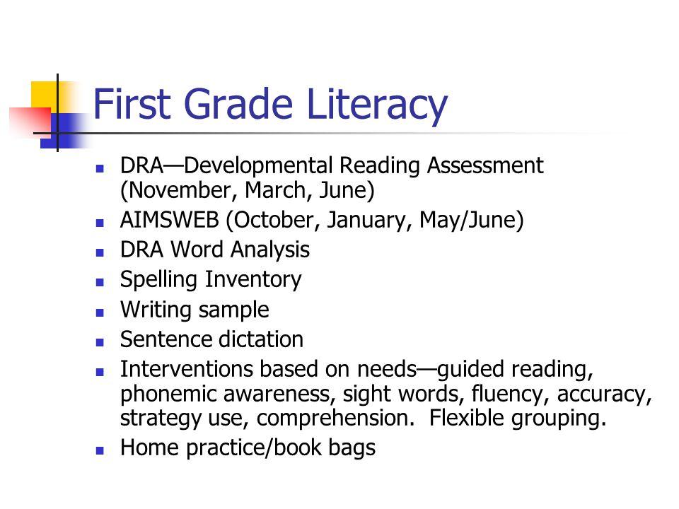 Kindergarten Literacy PALS ( Phonological Awareness Literacy Screen in September) DRA—Developmental Reading Assessment (March and June) Sentence dictation Writing
