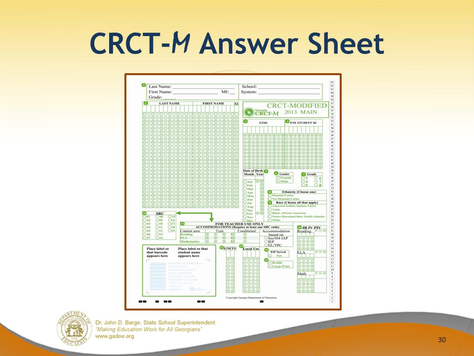 CRCT- M Answer Sheet 30
