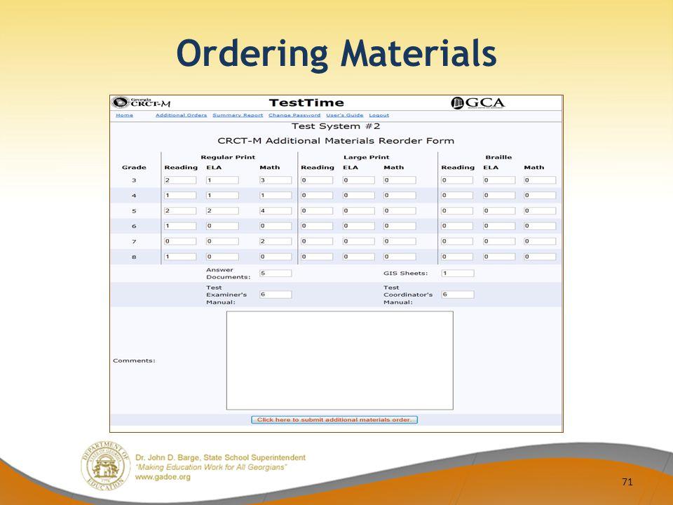 Ordering Materials 71