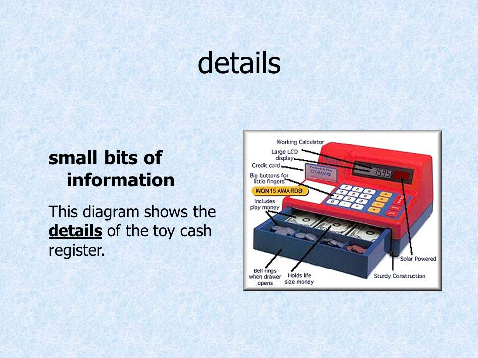 details small bits of information This diagram shows the details of the toy cash register.