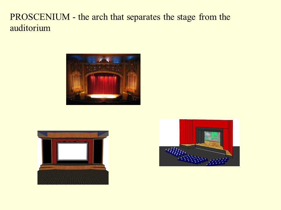 PROSCENIUM - the arch that separates the stage from the auditorium