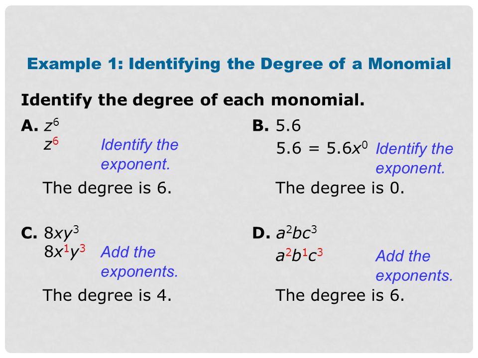 An degree of a polynomial is given by the term with the greatest degree.