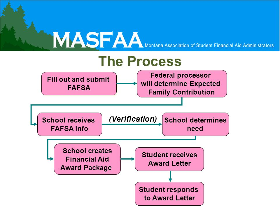 The Process Fill out and submit FAFSA Fill out and submit FAFSA Federal processor will determine Expected Family Contribution School receives FAFSA info School determines need School creates Financial Aid Award Package Student receives Award Letter Student responds to Award Letter (Verification)