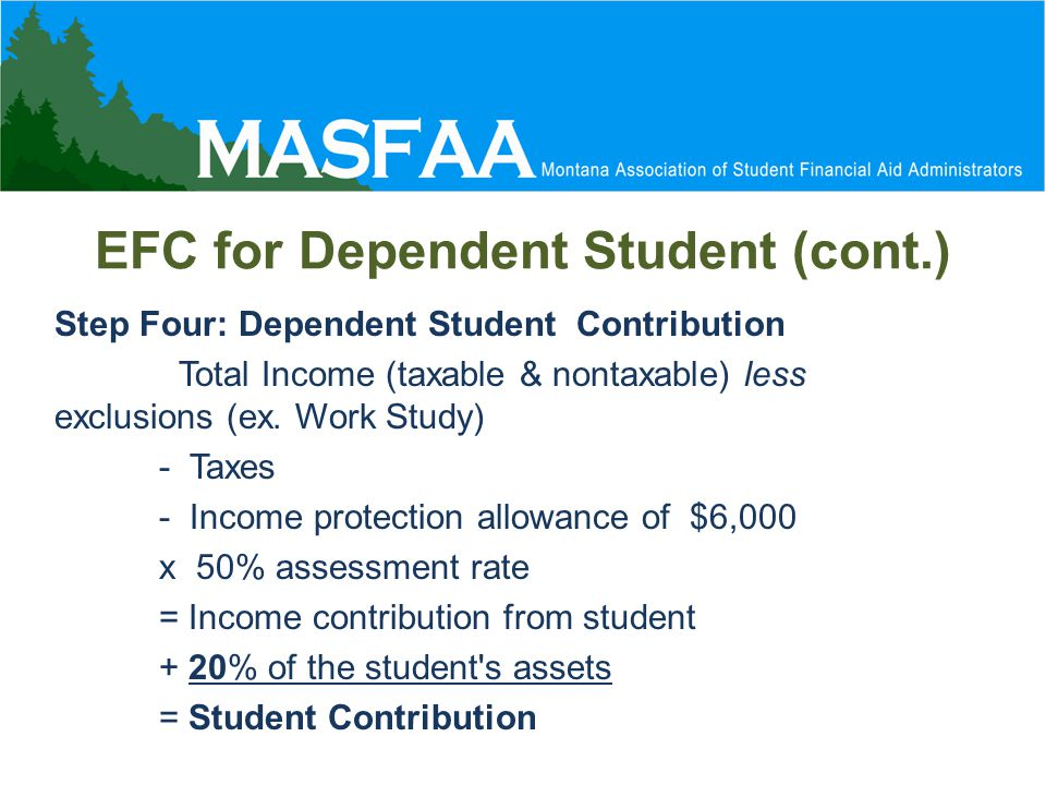 EFC for Dependent Student (cont.) Step Four: Dependent Student Contribution Total Income (taxable & nontaxable) less exclusions (ex.