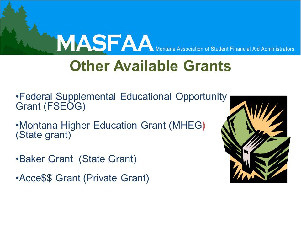 Other Available Grants Federal Supplemental Educational Opportunity Grant (FSEOG) Montana Higher Education Grant (MHEG) ) (State grant) Baker Grant (State Grant) Acce$$ Grant (Private Grant)