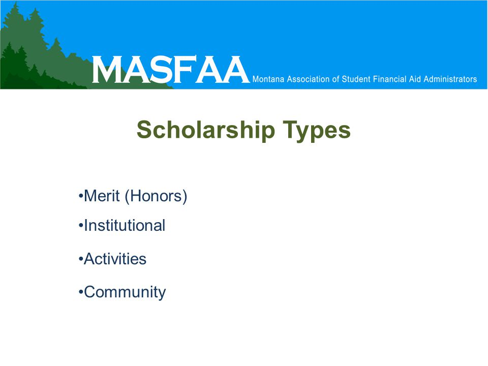 Merit (Honors) Institutional Activities Community Scholarship Types