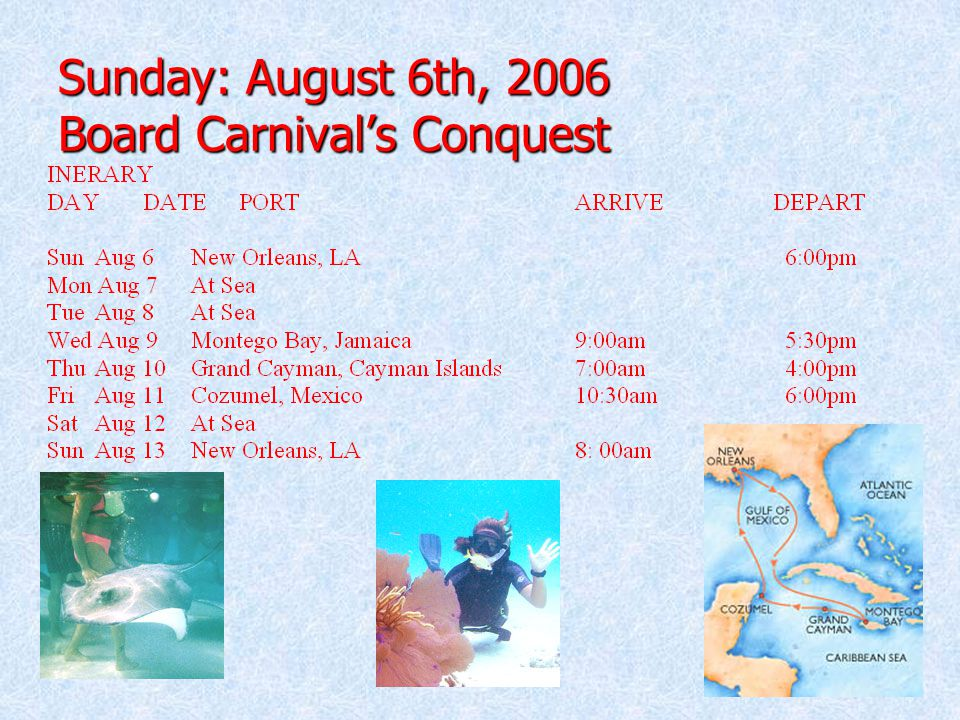 Sunday: August 6th, 2006 Board Carnival's Conquest