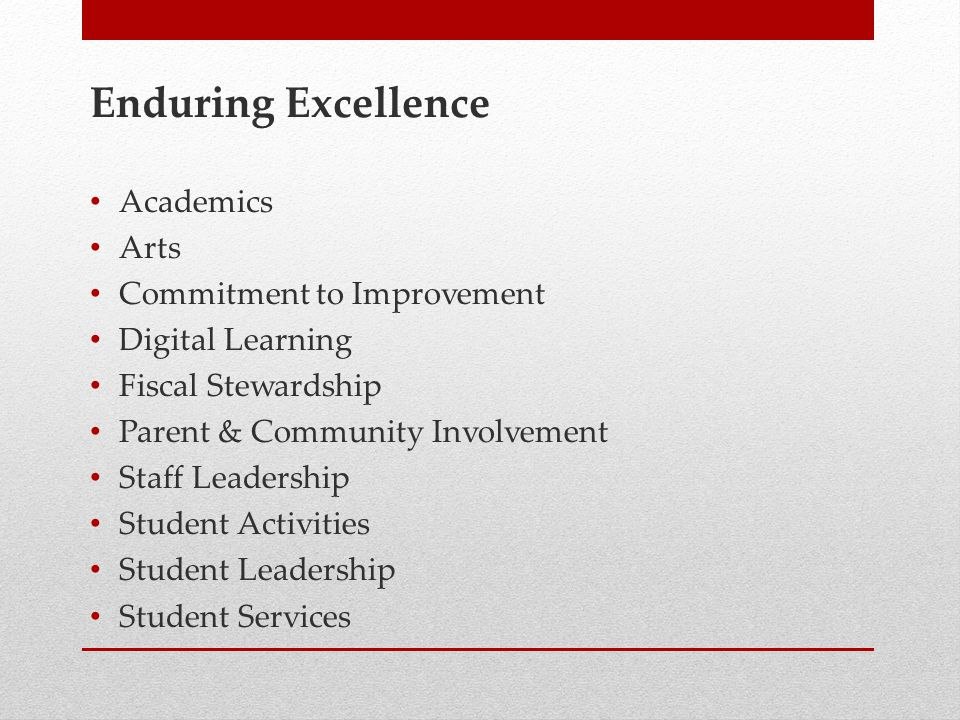 Enduring Excellence Academics Arts Commitment to Improvement Digital Learning Fiscal Stewardship Parent & Community Involvement Staff Leadership Student Activities Student Leadership Student Services