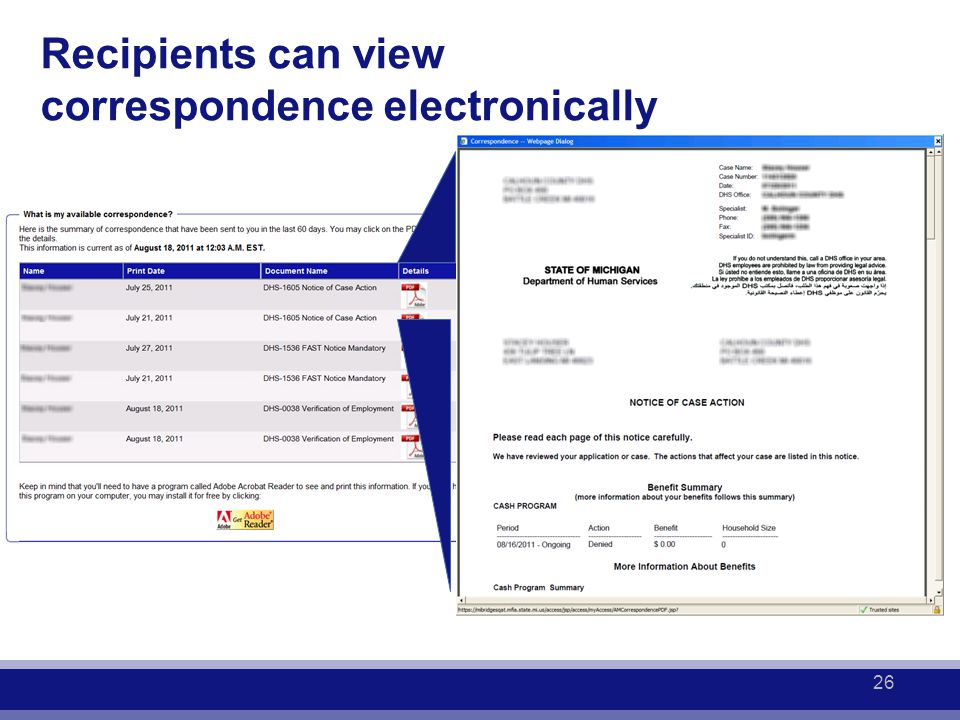 Recipients can view correspondence electronically 26