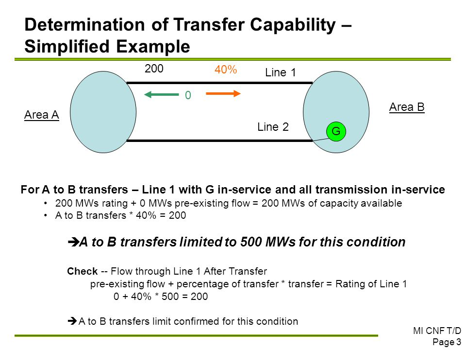 MI CNF T/D Page 3 For A to B transfers – Line 1 with G in-service and all transmission in-service 200 MWs rating + 0 MWs pre-existing flow = 200 MWs o