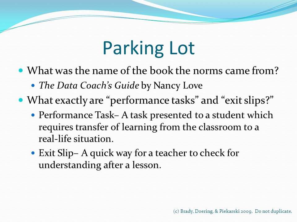 Parking Lot What was the name of the book the norms came from.