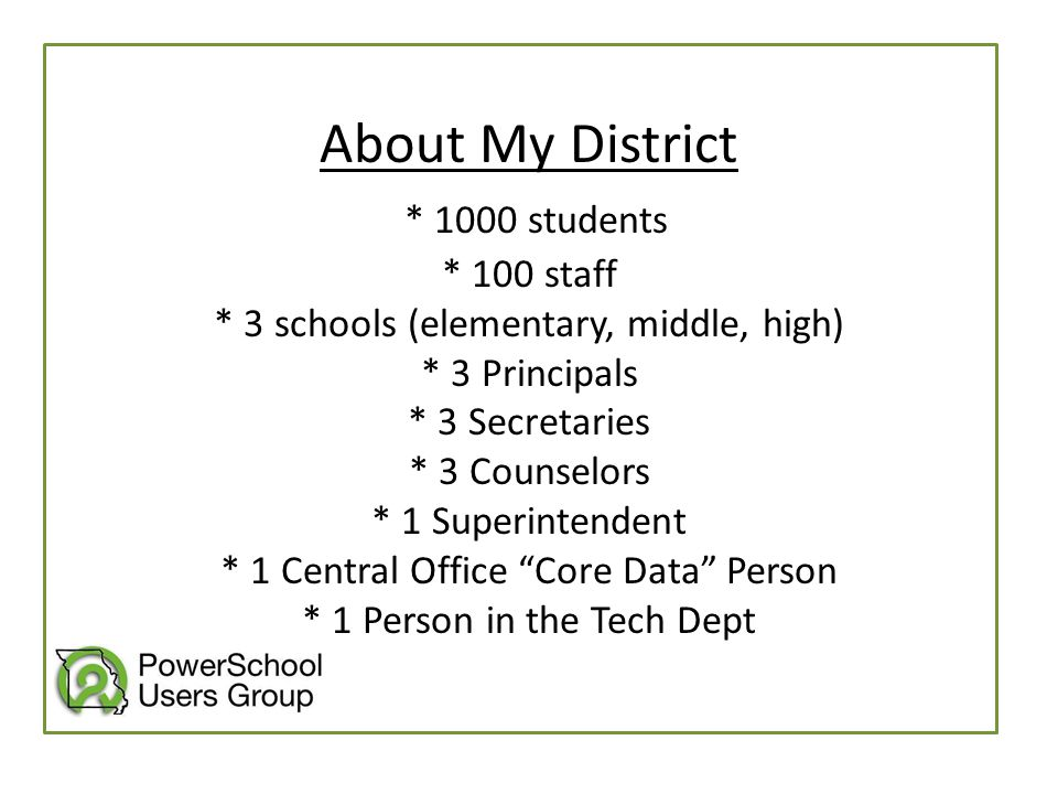 About My District * 1000 students * 100 staff * 3 schools (elementary, middle, high) * 3 Principals * 3 Secretaries * 3 Counselors * 1 Superintendent