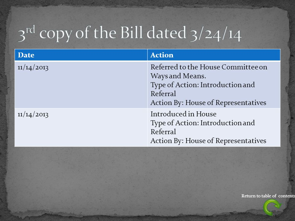 DateAction 11/14/2013Referred to the House Committee on Ways and Means.
