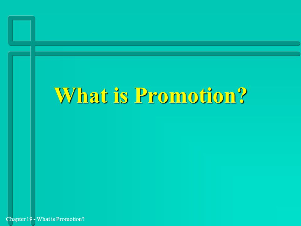 Chapter 19 - What is Promotion.What is promotion.