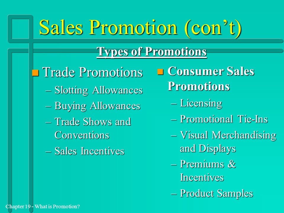 Chapter 19 - What is Promotion? Sales Promotion (con't) n Trade Promotions –Slotting Allowances –Buying Allowances –Trade Shows and Conventions –Sales