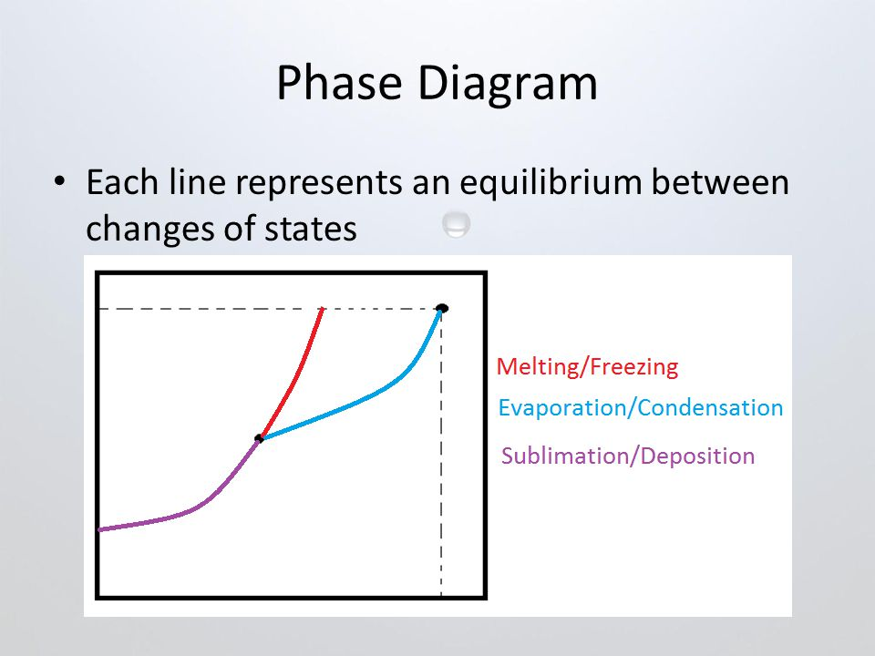 Phase Diagram Each line represents an equilibrium between changes of states