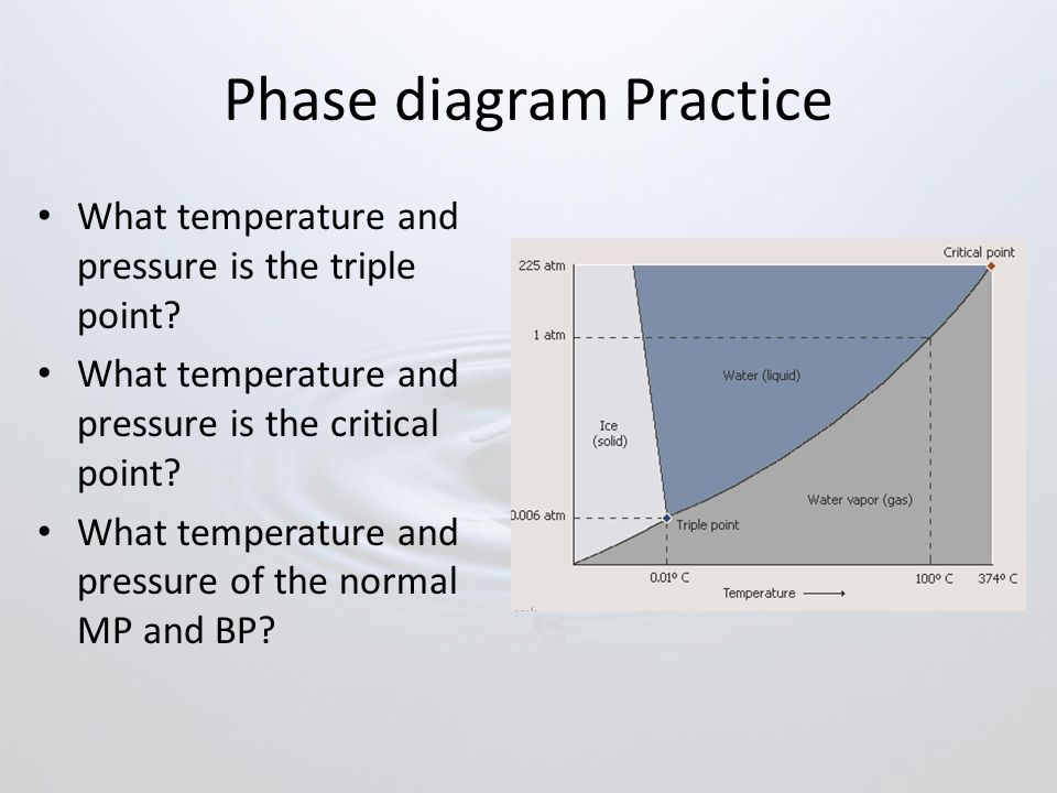 Phase diagram Practice What temperature and pressure is the triple point.