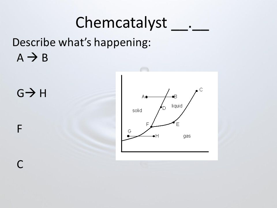 Chemcatalyst __.__ A  B G  H F C Describe what's happening: