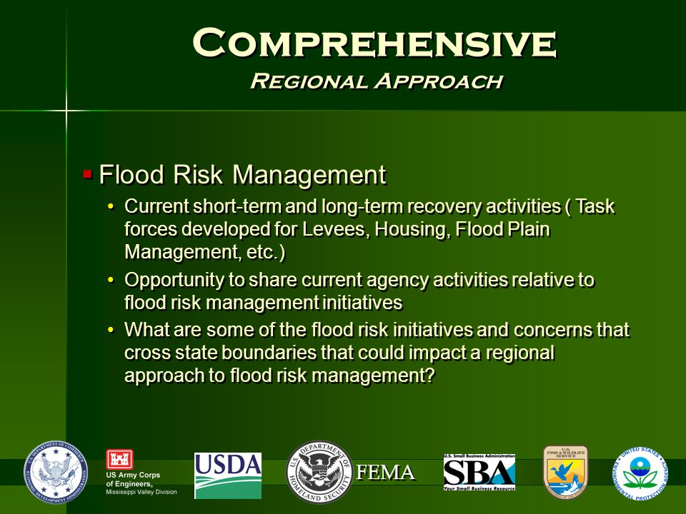 FEMA Comprehensive Regional Approach Comprehensive Regional Approach  Flood Risk Management Current short-term and long-term recovery activities ( Task forces developed for Levees, Housing, Flood Plain Management, etc.) Opportunity to share current agency activities relative to flood risk management initiatives What are some of the flood risk initiatives and concerns that cross state boundaries that could impact a regional approach to flood risk management.