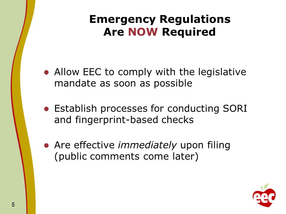 Next Steps TasksTimeline Presentation of Proposed Emergency Regulations to Board November 12, 2013 Anticipated Board Vote to Approve Emergency Regulations December 10, 2013 Public Comment Period on Emergency Regulations Anticipated Start Date December 11, 2013 through mid-January 2014 Implementation of new BRC requirements On-going with full implementation anticipated later this Fall Review of Public CommentJanuary-February 2014 Final Approval of New BRC Regulations Anticipated March 11, 2014 16