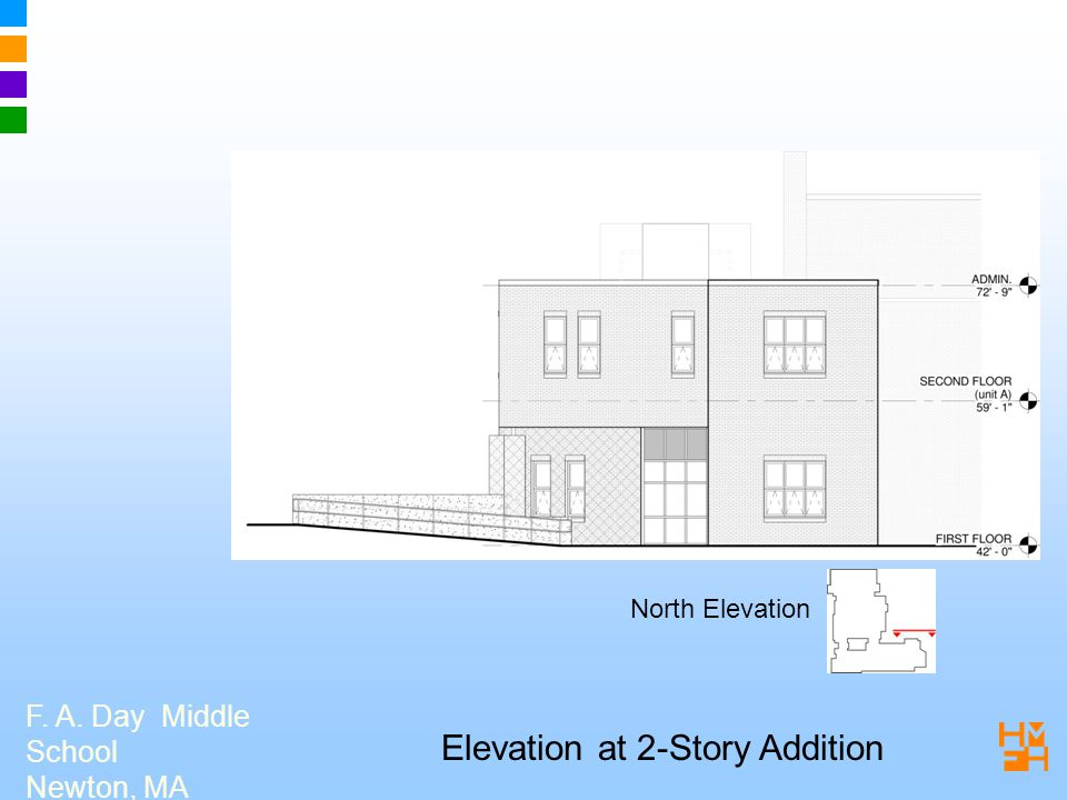 F. A. Day Middle School Newton, MA Elevation at 2-Story Addition North Elevation