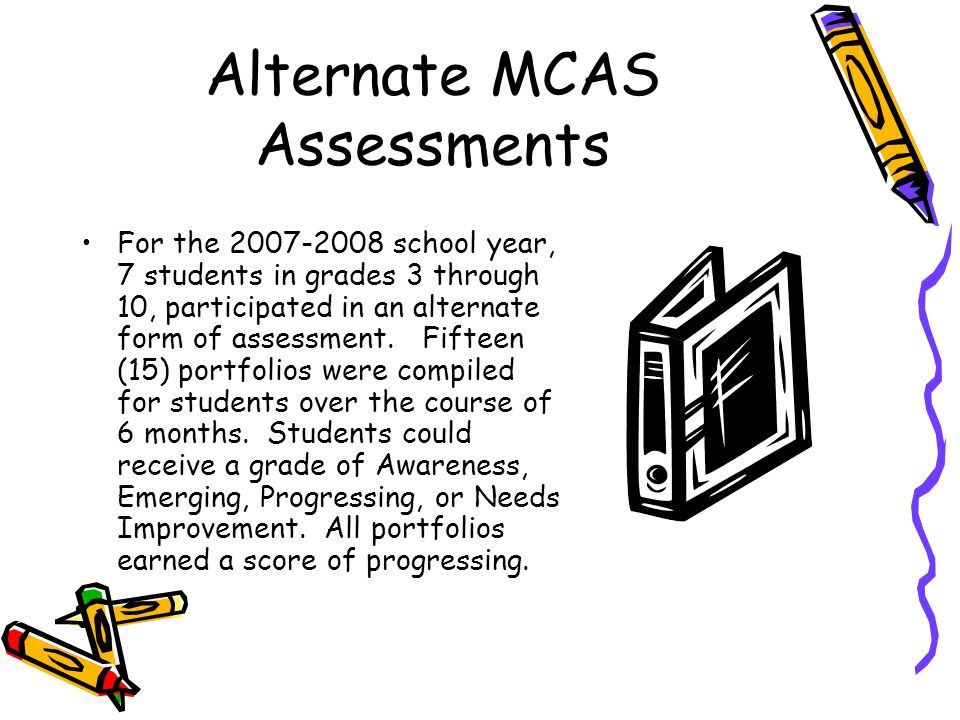 Alternate MCAS Assessments For the 2007-2008 school year, 7 students in grades 3 through 10, participated in an alternate form of assessment.