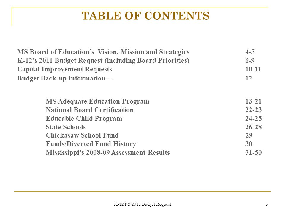 K-12 FY 2011 Budget Request 44 August 200944
