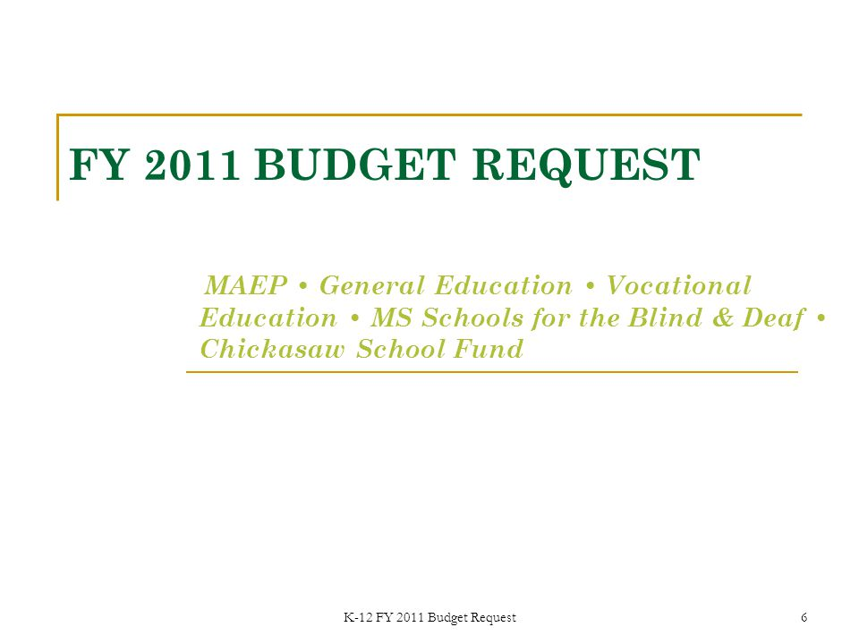 K-12 FY 2011 Budget Request 7 STATE BOARD OF EDUCATION FY 2011 Funding Priorities (Increases over FY 2010 Level) Full Funding of MAEP (ESTIMATE)$ 61,314,991 Restoration of Diverted Funds$ 36,534,390 a.