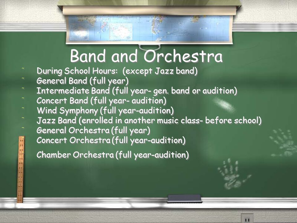 Band and Orchestra / During School Hours: (except Jazz band) / General Band (full year) / Intermediate Band (full year- gen.