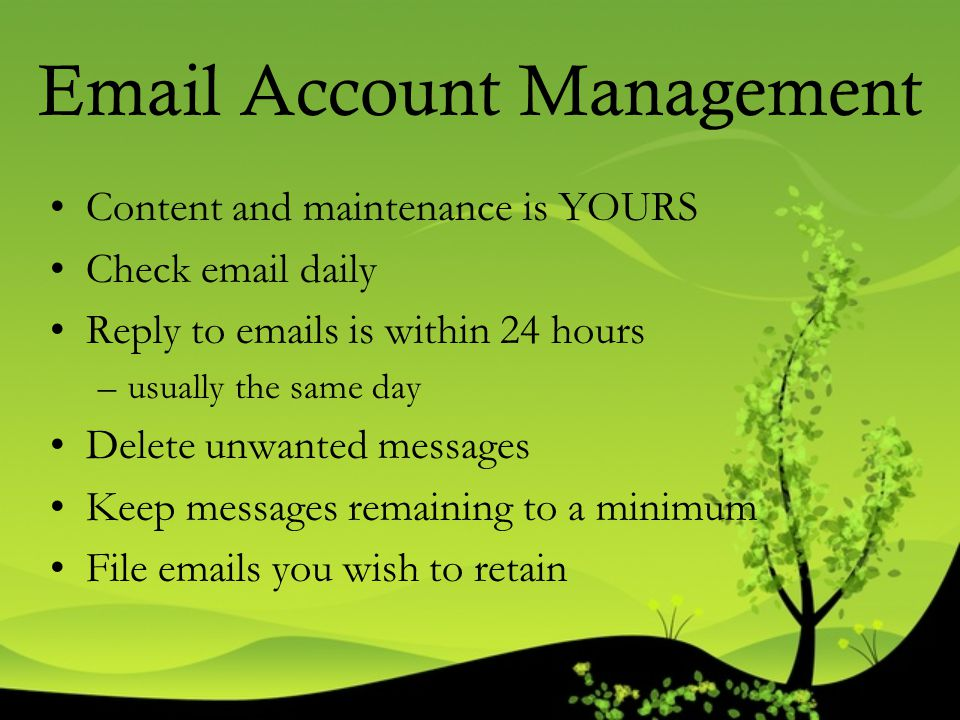 Email Account Management Content and maintenance is YOURS Check email daily Reply to emails is within 24 hours –usually the same day Delete unwanted m