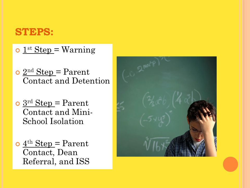 STEPS: 1 st Step = Warning 2 nd Step = Parent Contact and Detention 3 rd Step = Parent Contact and Mini- School Isolation 4 th Step = Parent Contact, Dean Referral, and ISS
