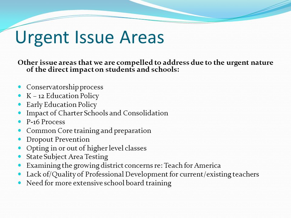 Urgent Issue Areas Other issue areas that we are compelled to address due to the urgent nature of the direct impact on students and schools: Conservat