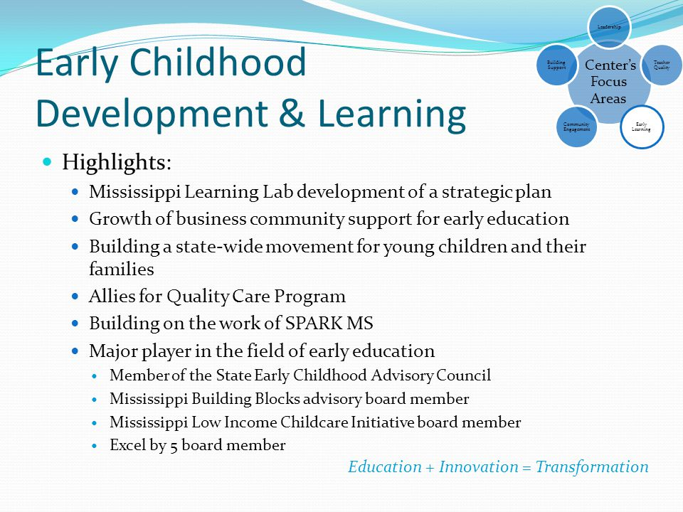 Early Childhood Development & Learning Highlights: Mississippi Learning Lab development of a strategic plan Growth of business community support for e