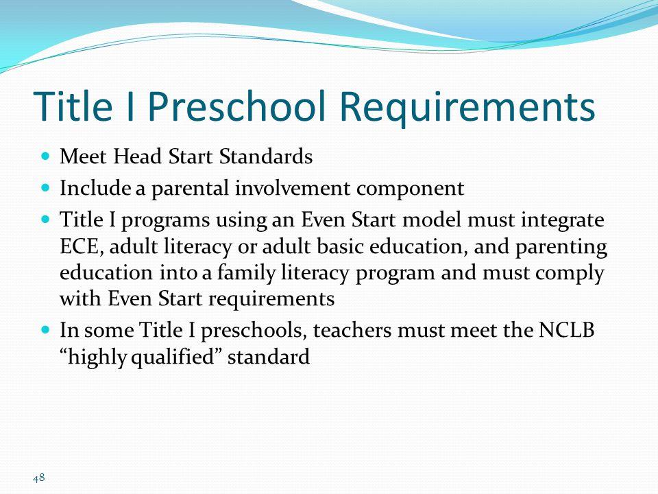 Title I Preschool Requirements Meet Head Start Standards Include a parental involvement component Title I programs using an Even Start model must inte
