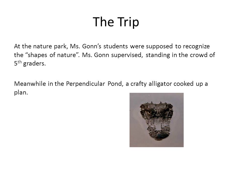 "The Trip At the nature park, Ms. Gonn's students were supposed to recognize the ""shapes of nature"". Ms. Gonn supervised, standing in the crowd of 5 th"